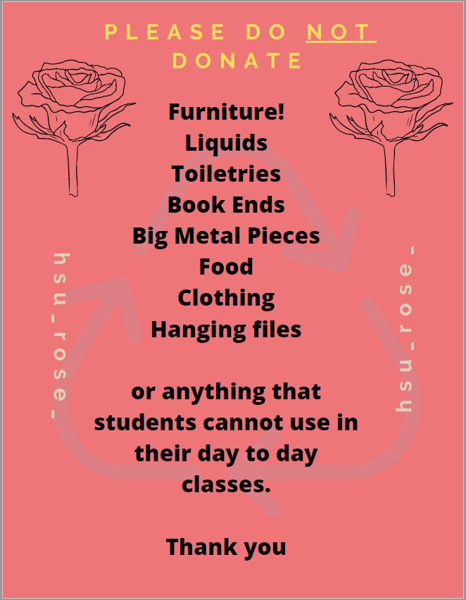 Items we ask that people not to donate.