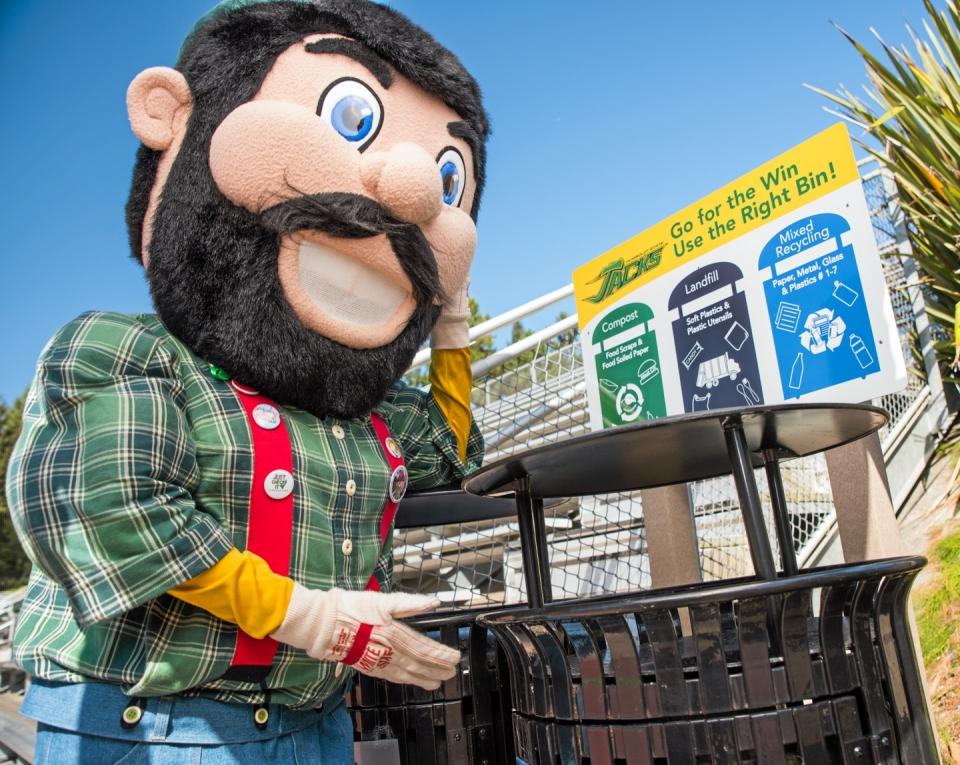 HSU Mascot Pointing to Trashcan