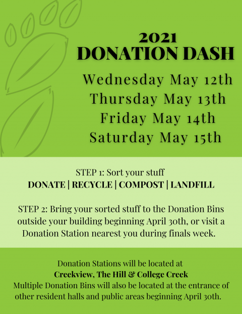 Wednesday May 12th Thursday May 13th Friday May 14th Saturday May 15th   STEP 1: Sort your stuff  DONATE | RECYCLE | COMPOST | LANDFILL  STEP 2: Bring your sorted stuff to the Donation Bins outside your building beginning April 30th, or visit a Donation Station nearest you during finals week.    Donation Stations will be located at  Creekview, The Hill & College Creek Multiple Donation Bins will also be located at the entrance of other resident halls and public areas beginning April 30th.